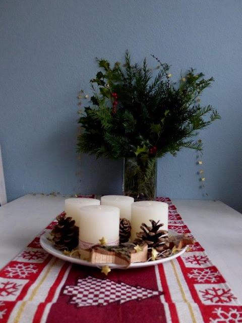 Adventskranz Weihnachtsdeko Advent Deko Tannengrün Kerzen DIY