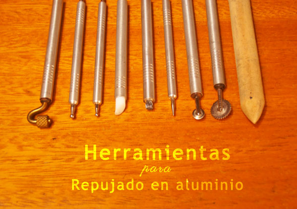 Las herramientas para repujar en aluminio