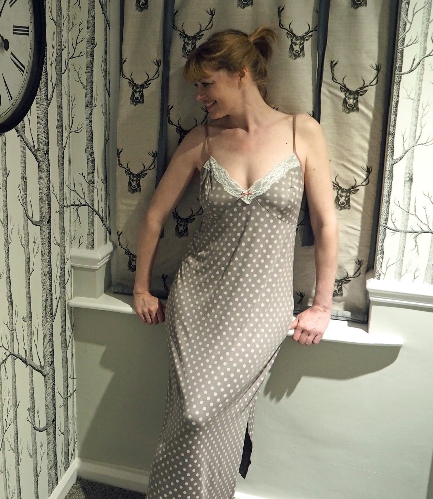 Blackspade noir Olivia spotted nightgown, from UK Lingerie What Lizzy Loves Tips for a better night sleep