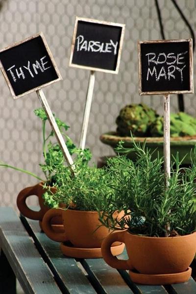 Cangkir dari tanah liat untuk menanam tanaman herbal.