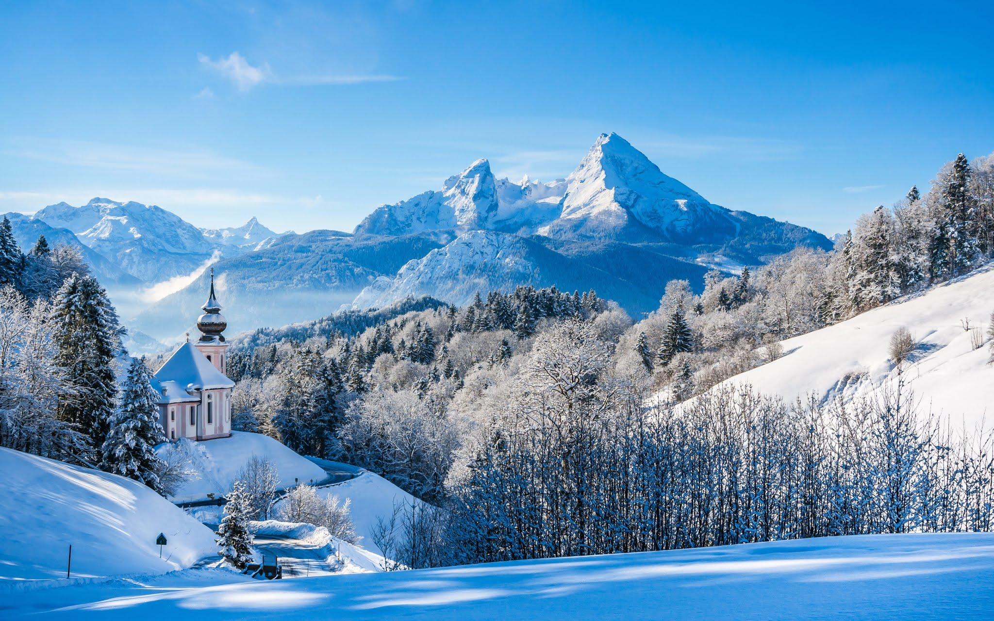 Bavarian Alps Winter Landscape Wallpaper