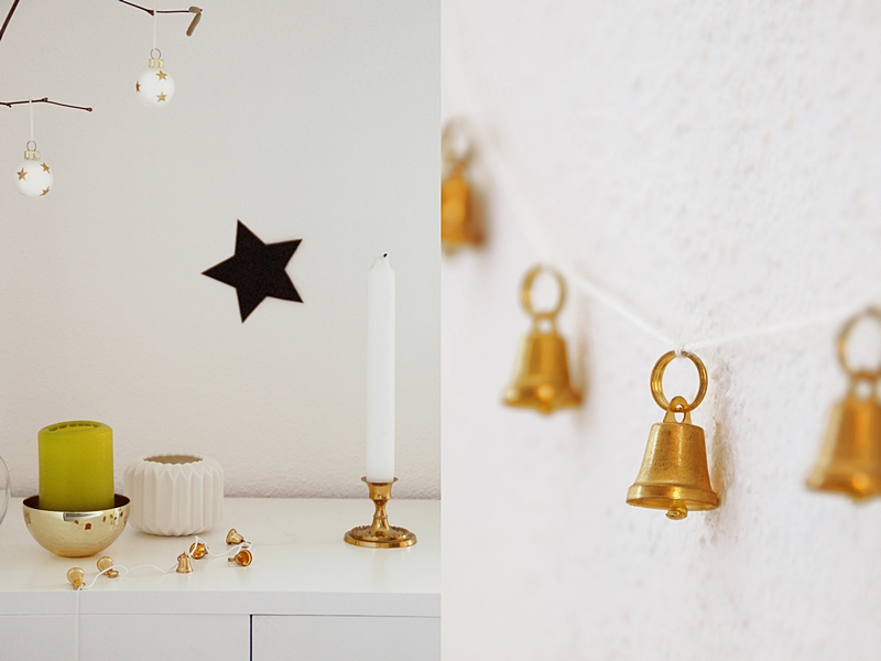 Scandinavian Christmas Decoration in White, Black, Gold and Green