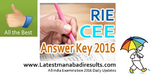 RIE CEE Key 2016, RIE Common Entrance Examination 2016 Solved Key, RIE CEE Exam Key 2016, RIE CEE June 2016 Answer Key,RIE CEE Exam June 2016 Question Paper with Key