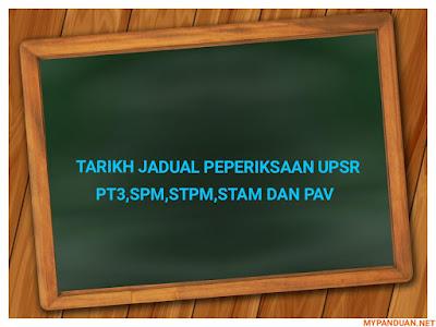 Tarikh Waktu Peperiksaan UPSR, PT3, SPM, STPM, STAM dan PAV 2018