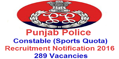 Punjab Police Constable Recruitment 2016