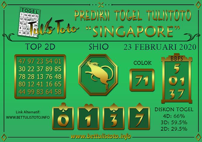 Prediksi Togel SINGAPORE TULISTOTO 23 FEBRUARI 2020