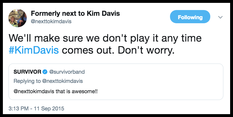 @nexttokimdavis responding to Survivor not wanting Huckabee to use their song for the Hate the Gays rally