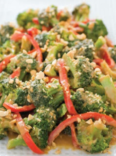 Broccoli and Red Peppers with Spicy Peanut Sauce recipe can be whipped up in an instant