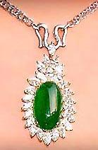 Imperial jade pendant with diamonds