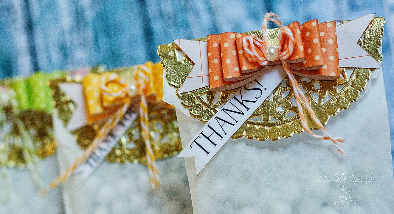 SRM Stickers Blog - Thank You Glassine Bags by Michele - #glassine #bags #gold #doilies #twine #thanks #gift