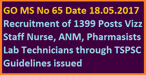 GO MS No 65 Guidelines to Fill up 1399 Staff Nurse Paramedical ANM Posts Through TSPSC  Govt of Telangana Dept of Health and Family Welware Dept issued guidelines to Recruit Staff Nurse Radiologist Pharmasist Lab Technicians HM&FW Department – Filling up of posts in Health, Medical & Family Welfare Department – Guidelines for filling up Nursing, Paramedical & Other categories through TSPSC, in relaxation of rule 9 (b) of the State and subordinate service rules, 1996 – Orders – Issued
