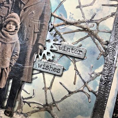 Sara Emily Barker https://sarascloset1.blogspot.com/2018/10/wishful-thinking-winter-card.html Wishful Thinking Winter Card with Tim Holtz Sizzix Alterations Ideaolgy Ranger Products 5