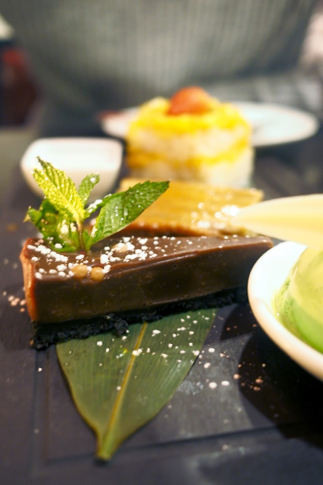 chocolate dessert with fresh mint