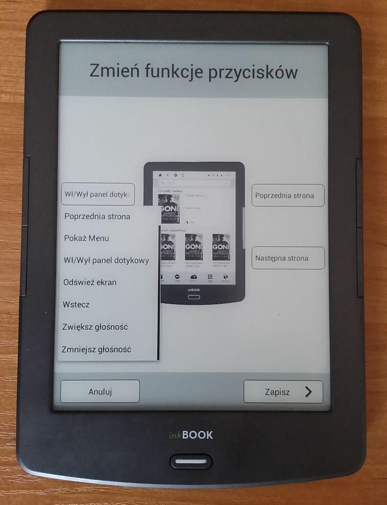 inkBOOK Classic 2 pozwala na zmianę funkcji przycisków