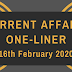 Current Affairs One-Liner: 16th February 2020