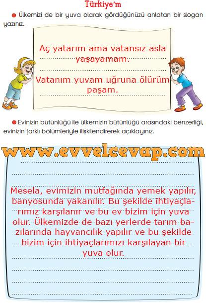 3. Sınıf Sevgi Yayınları Hayat Bilgisi Çalışma Kitabı 77. Sayfa Cevapları Türkiye'm Metni