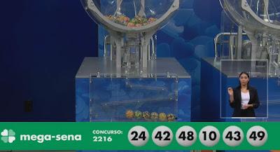 Dezenas do concurso 2.216 da Mega-Sena — Foto: Reprodução
