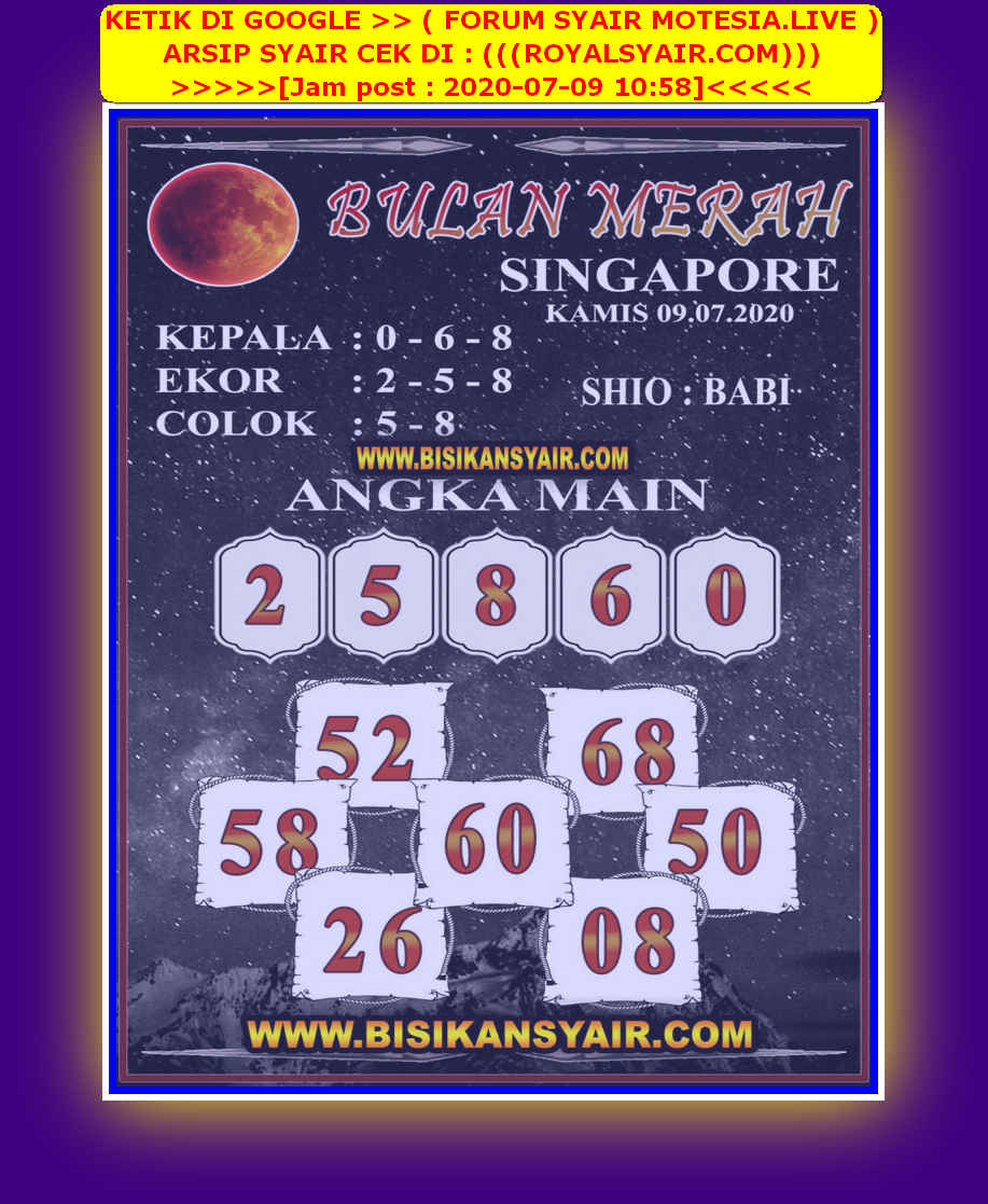Kode syair Singapore Kamis 9 Juli 2020 91