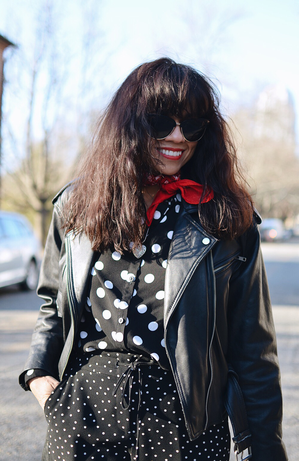 How to wear polka dots from head to toe
