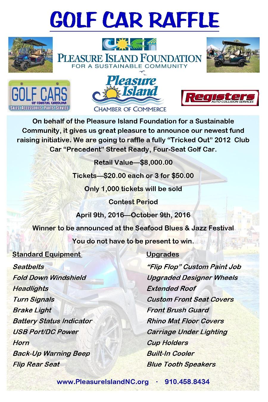 Pleasure Island, NC: Golf Car Raffle!