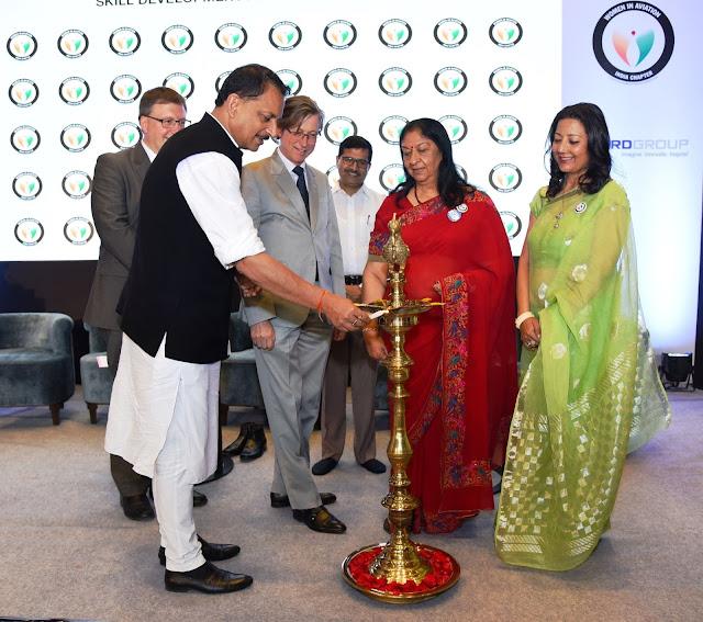 Mr. Rajiv Pratap Rudy, H. E Mr Jan Luyx, Radha Bhatia & Neelam Pratap Rudy lighting Lamp