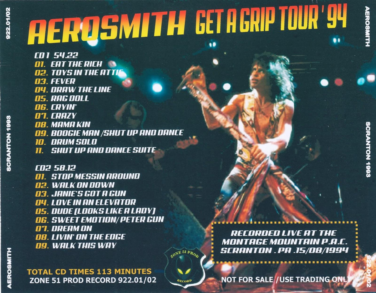 Aerosmith Bootlegs Cover Arts Scranton 1994
