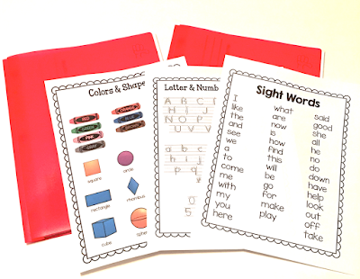 Take home folders for kindergarten, includes sight words, shapes, handwriting, parent communication folder.