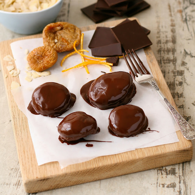 Turkish figs with orange and almond dipped in dark chocolate.