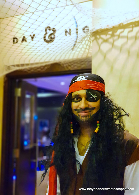 staff in pirate costume in Mercure Barsha Heights