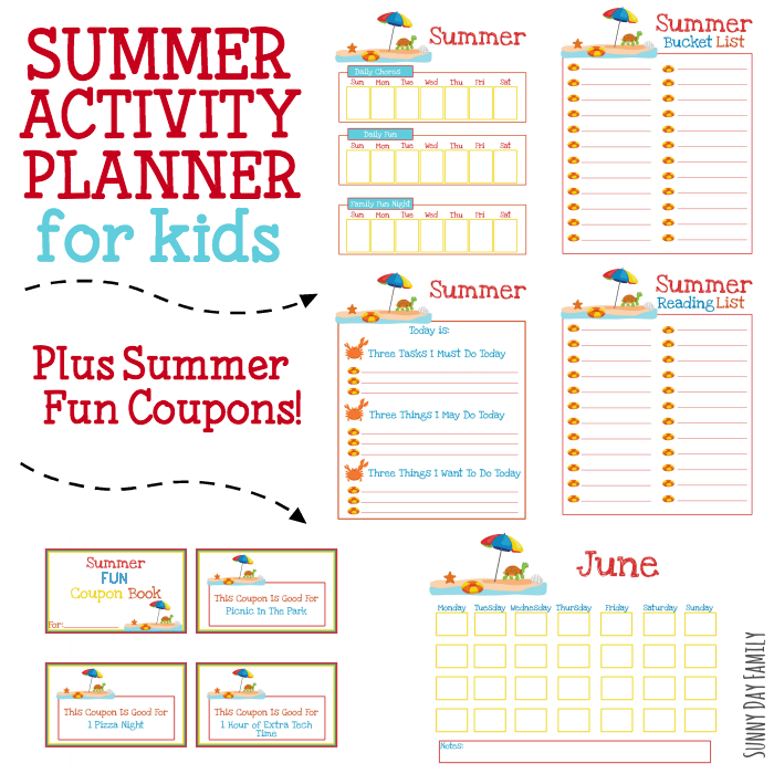 Printable Summer Activity Planner for Kids (with Summer ...