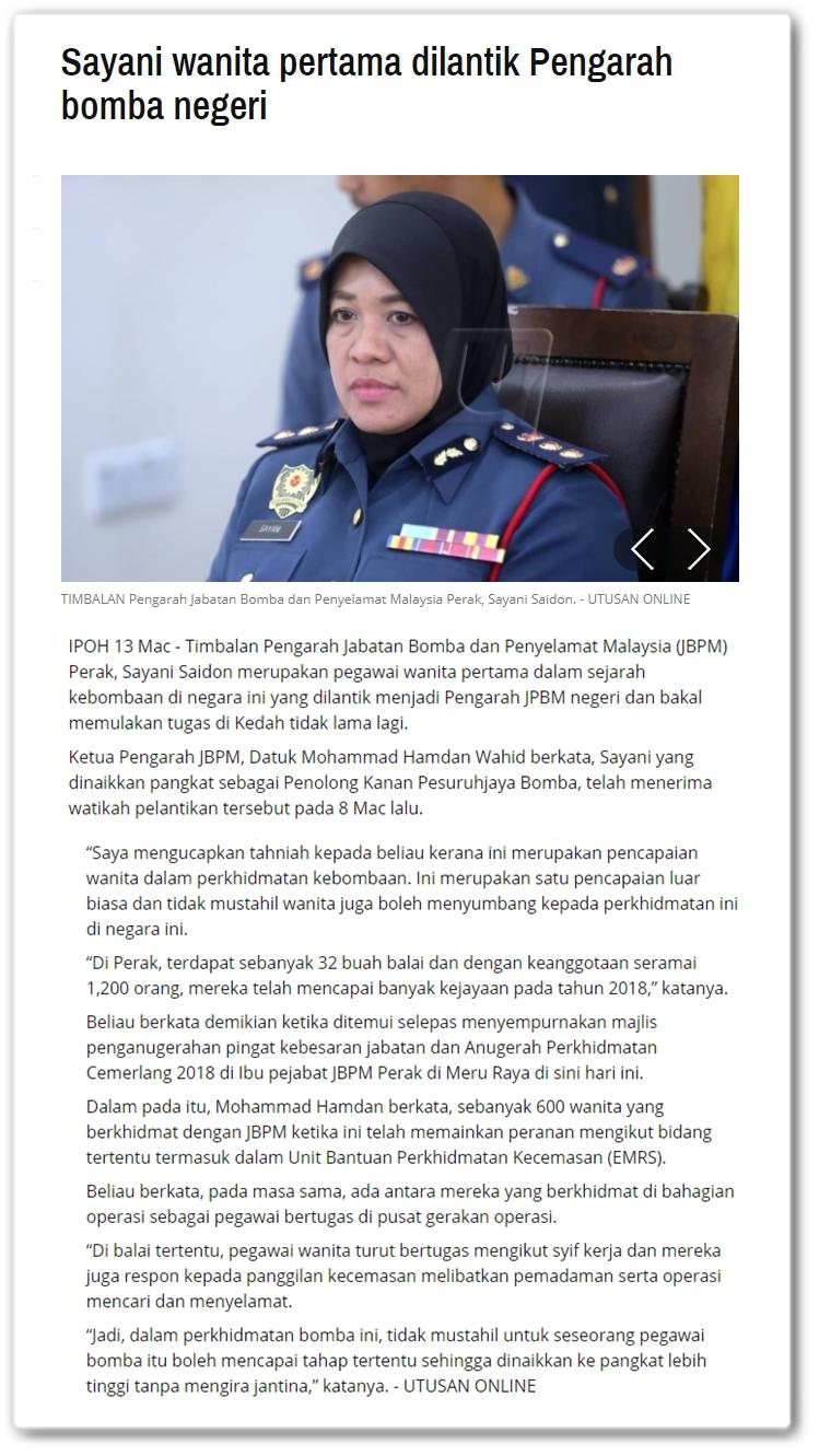Sayani wanita pertama dilantik Pengarah Bomba Negeri - Keratan artikel Utusan Online 13 Mac 2019