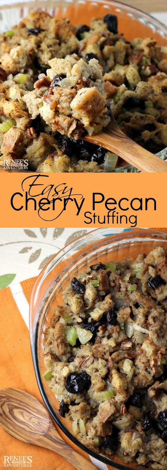 Easy Cherry Pecan Stuffing | by Renee's Kitchen Adventures - Easy recipe for stuffing or dressing made with tart dried cherries and crunchy pecans perfect side dish for chicken, turkey, pork, or beef! Makes a great holiday side dish! #stuffing #easyrecipe #dressing #driedcherries #pecans #Thanksgiving #Holidaysidedish