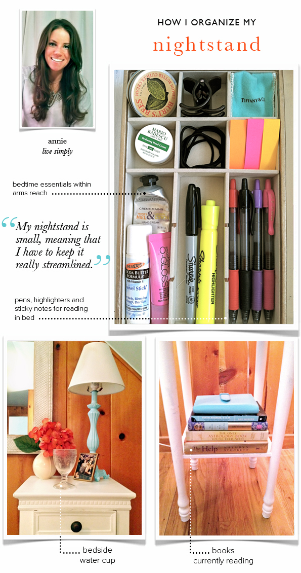A tiny nightstand and some storage inside :: OrganizingMadeFun.com
