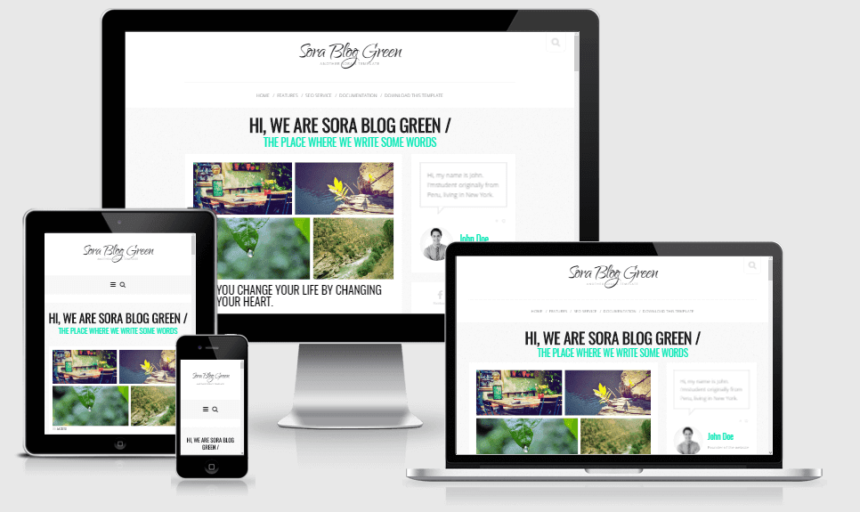 Sora Blog Green - Responsive Blogger Template