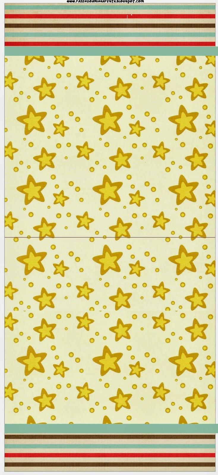 Etiquetas para Imprimir Gratis de Estrellas Doradas y Rayas de Colores.