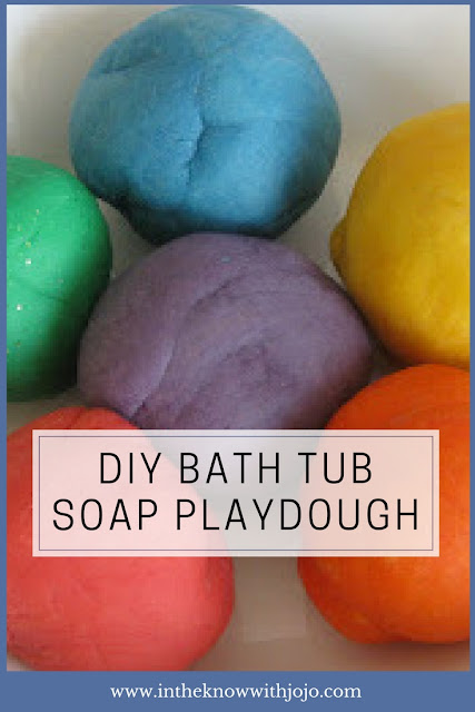 Check out this fun recipe for making bath tub playdough! Bubble bath play dough can be used in the tub and disappears when mixed with water.