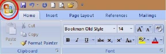 tampilan ikon office button pada ms word