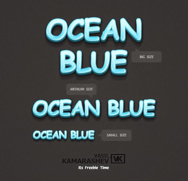 3D Ocean Blue Text Style