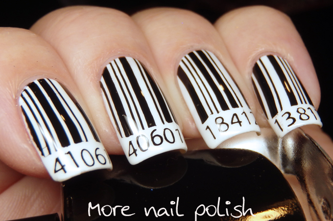 Price check on this black and white mani - bar code nail art ~ More ...