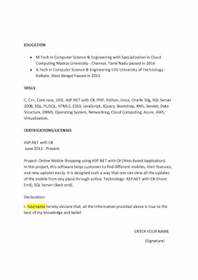 M.Tech CS Resume Format 3