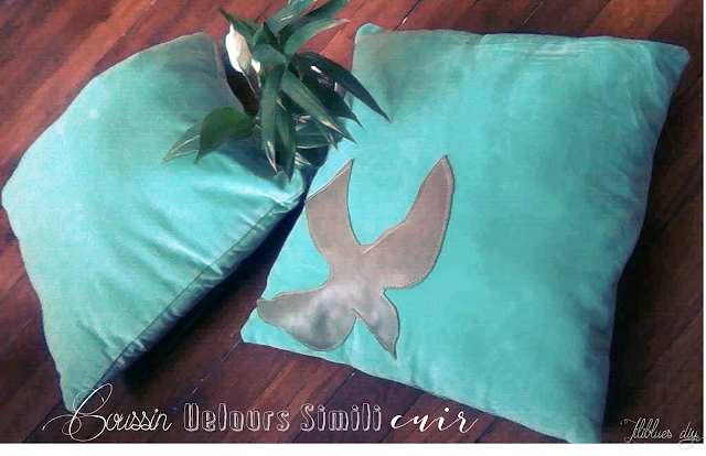 diy- couture- Coussin - pillow- velours- simili cuir