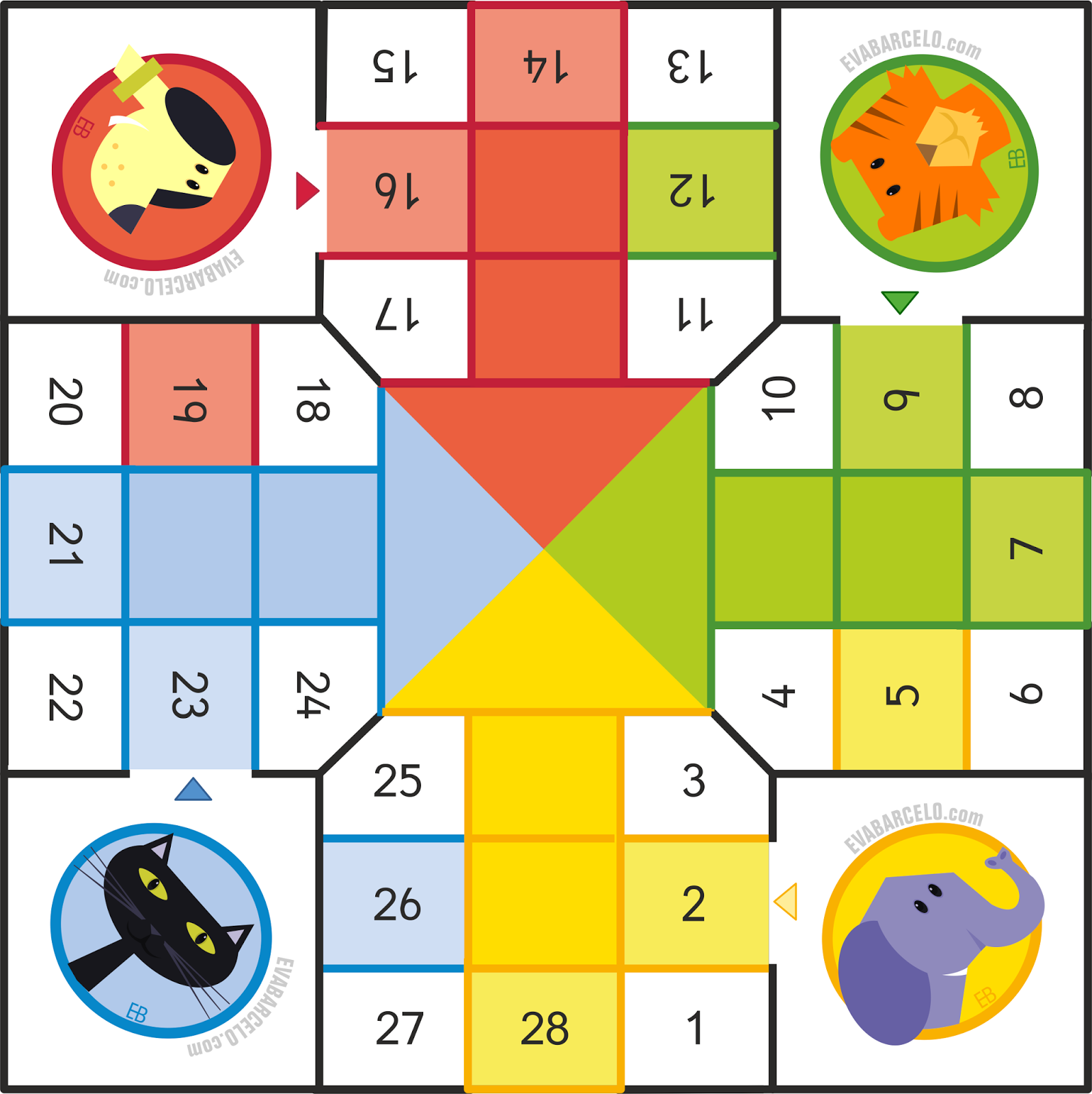 Parchís para pequeños - Ludo for preschoolers gameboard by Eva Barceló