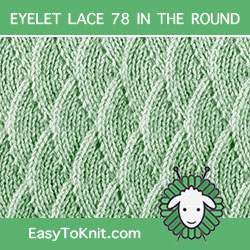 Overlapping Waves Lace stitch, easy to knit in the round