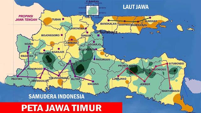 Gambar Peta pembagian Kabupaten di Jawa Timur