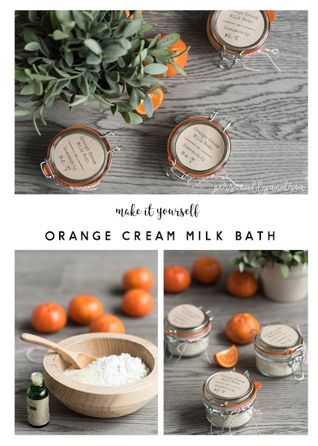 Homemade Orange Cream Milk Bath | Homemade orange cream milk bath with pantry ingredients plus orange essential oil.  Makes a pretty gift when packaged in a labeled jar | #spa #giftidea