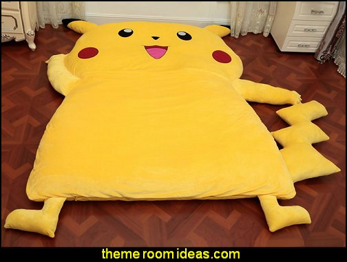 Cartoon Pikachu Sleeping Bag Yellow Thicken Sofa Bed Creative Tatami Mattress