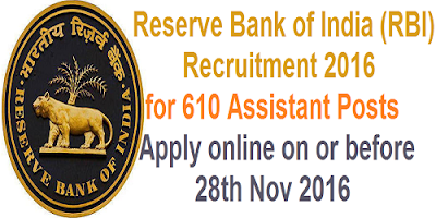 RBI Assistant Recruitment Notification 2016
