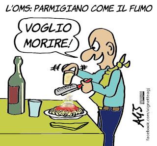 olio, parmigiano, pasta asciutta, oms, salute, umorismo, vignetta, satira