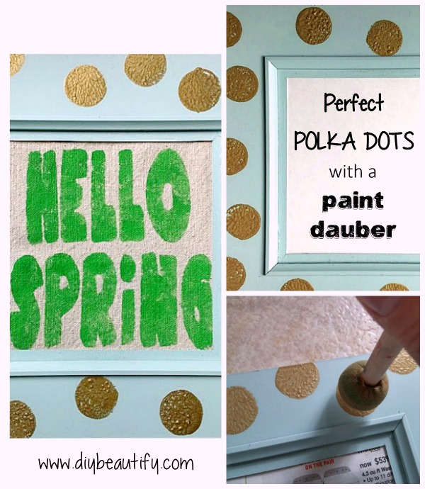 Learn how to make this bright and fun 'Hello Spring' sign with polka dots with this detailed tutorial by DIY beautify