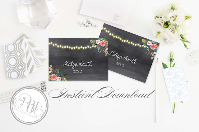 watercolour boho wedding place cards by rbhdesignerconcepts.com